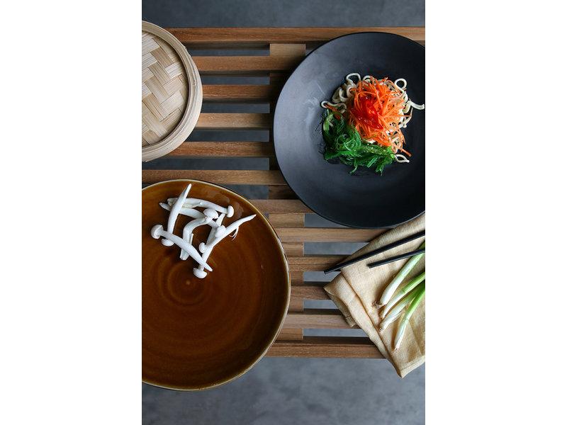 HK-Living Kyoto keramiek dinerborden - bruin sets van 5 stuks