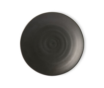 HK-Living Kyoto ceramic dinner plates - matte black sets of 5 pieces