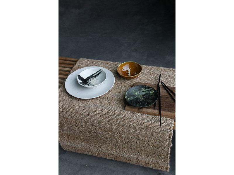 HK-Living Kyoto keramiek grote dinerborden - white speckled set van 5 stuks