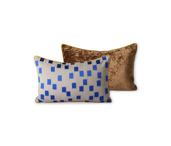 HK-Living Stitched pillow - blue brush