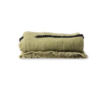 HK-Living Tufted plaid - pistachio / black 130x170cm