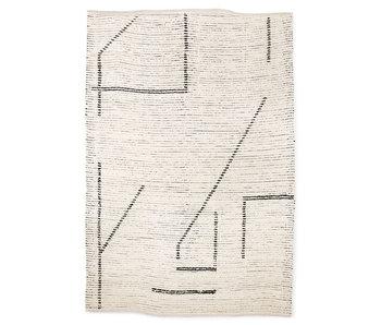 HK-Living Hand-woven cotton rug - cream / charcoal 200x300cm