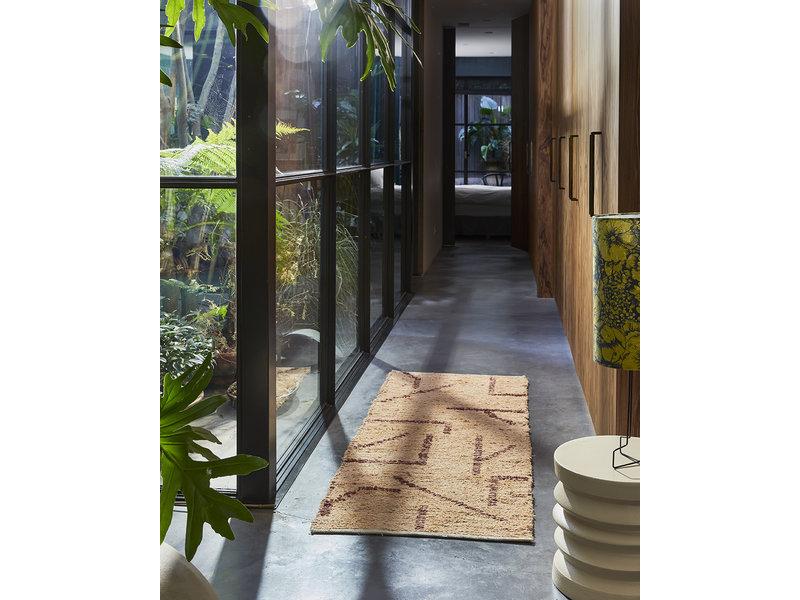 HK-Living Handgeweven vloerkleed runner - peach/mocka 70x200cm