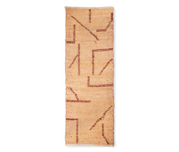 HK-Living Handwoven rug runner - peach / mocka 70x200cm