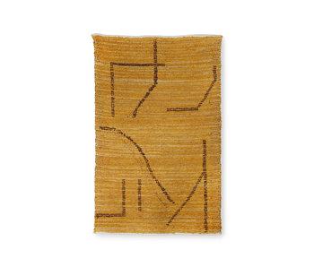 HK-Living Hand-woven cotton rug - ocher / brown 120x180cm