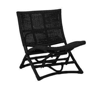 Bloomingville Baz lounge chair rattan - black