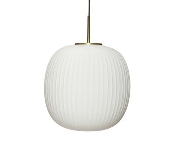 Hubsch Hanglamp glas - wit/messing ø42cm