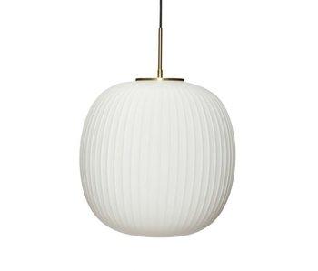 Hubsch Lampe à suspension verre - blanc / laiton ø42cm