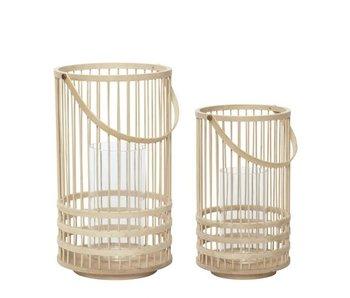 Hubsch Lantaarn bamboe naturel - set van 2 stuks