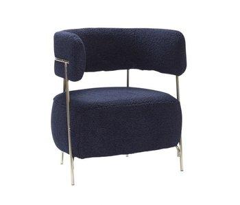 Hubsch Lounge stoel polyester/metaal - blauw/nickel