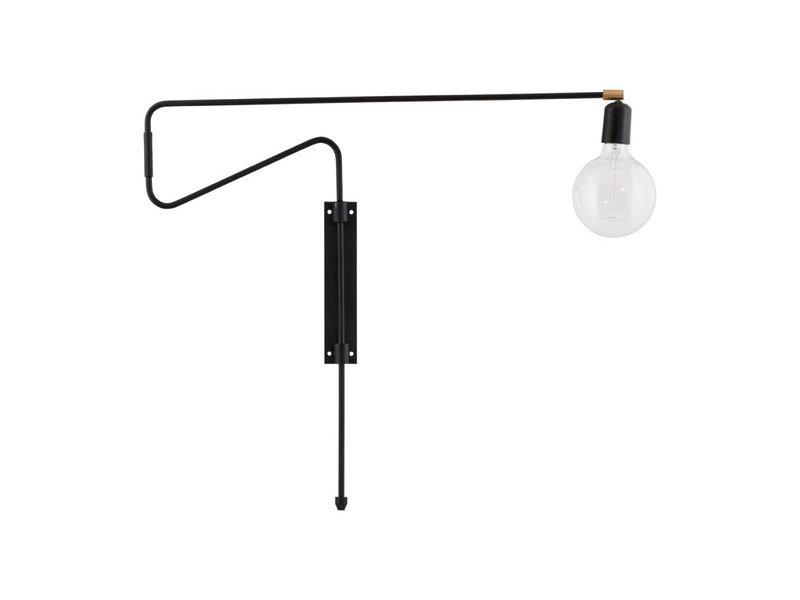 House Doctor Swing wandlamp zwart metaal messing verstelbaar