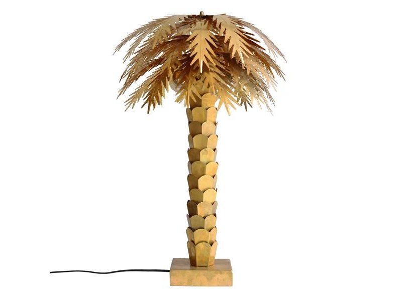 HK-Living Bordlampe palme messing
