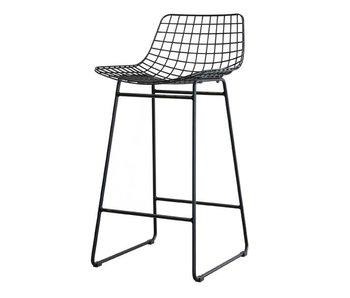 HK-Living Chaise de fil en métal noir