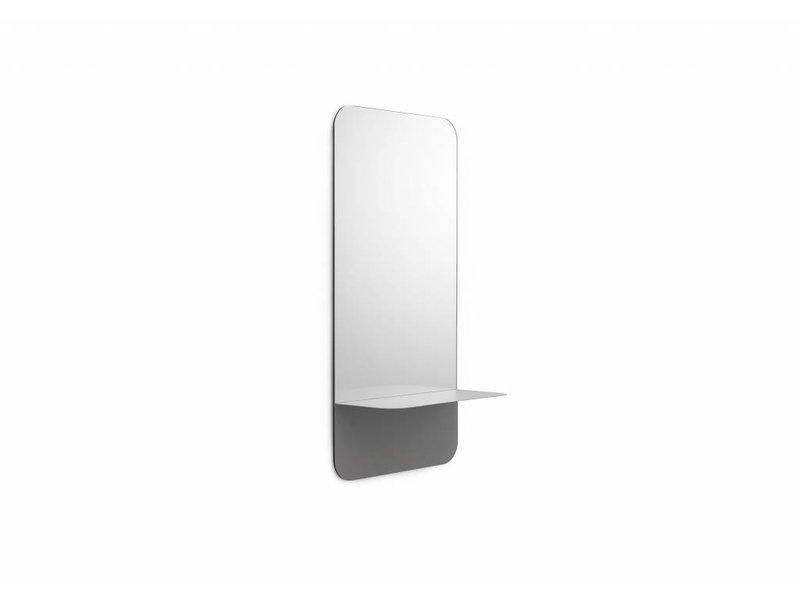 specchio Horizon con mensola grigia verticale