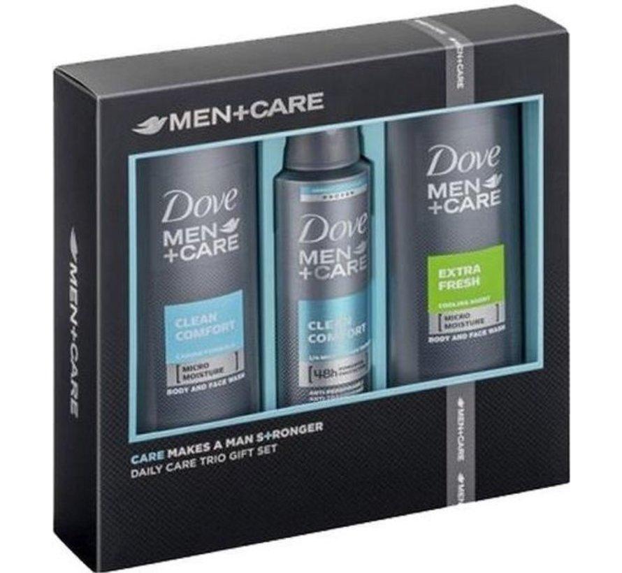 DOVE MEN GESCHENK SET CARE CLEAN COMFORT + EXTRA FRESH - DEASPRAY & 2X DOUCHE - DOVE