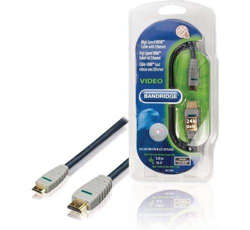 Bandridge HDMI KABEL BVL1905 HDMI TYPE A - 5 METER (STANDARD) HDMI TYPE C (MINI) - BANDRIGE