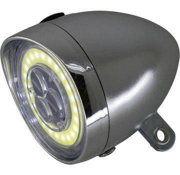 K-Parts FIETSKOPLAMP RETRO 3 LED MET COB RING CHROOM - K-PARTS