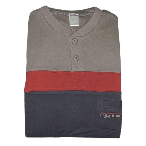 Heren Pyjama Tricot bruin/grijs