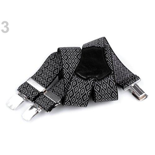 Bretels 120 cm lang  - Zwart / Grijs patroon
