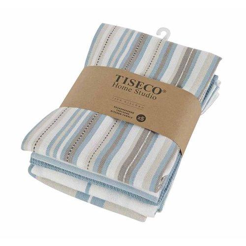 Tiseco Home Studio Tiseco Theedoek (5-pack, Blauw)