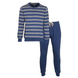 M.E.Q. MEQ Heren Pyjama Blauw Gestreept 2009A