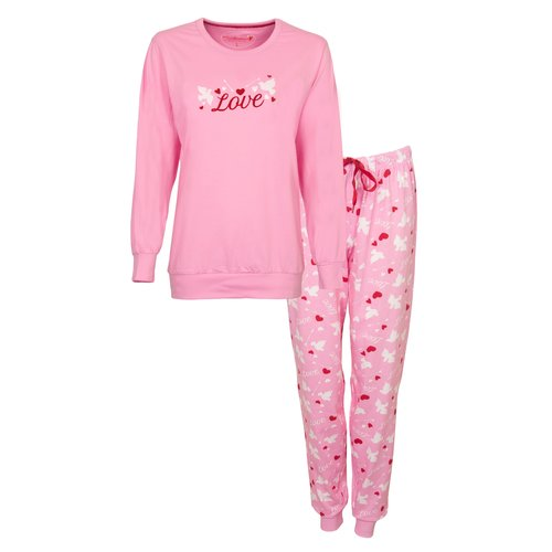 Tenderness Tenderness Dames Pyjama roze met boordjes 1121a