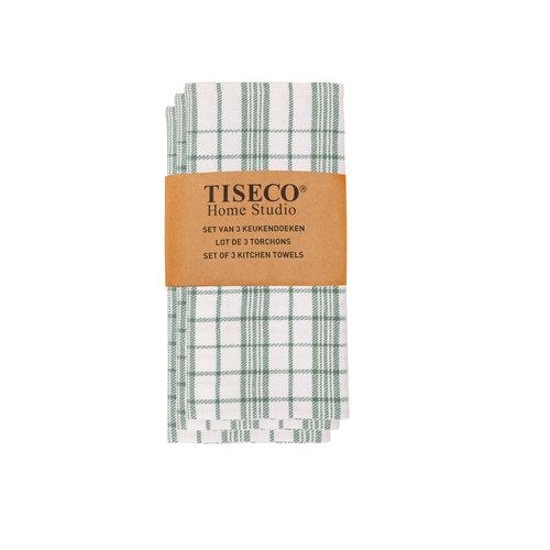 Tiseco Home Studio Tiseco Theedoek geblokt (3-pack, Groen)