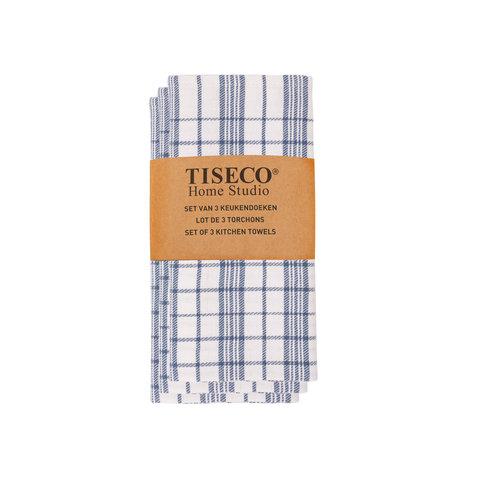 Tiseco Home Studio Tiseco Theedoek geblokt (3-pack, Blauw)