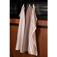Tiseco Theedoek stripe/waffle/check (3-pack, Taupe)