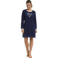 Pastunette Dames Nachthemd lange mouw donkerblauw