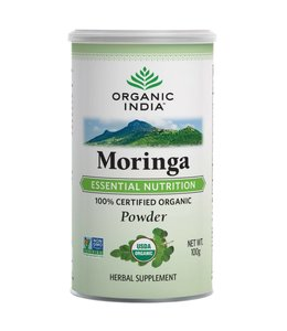 Organic India Moringa powder biologisch 100 g can