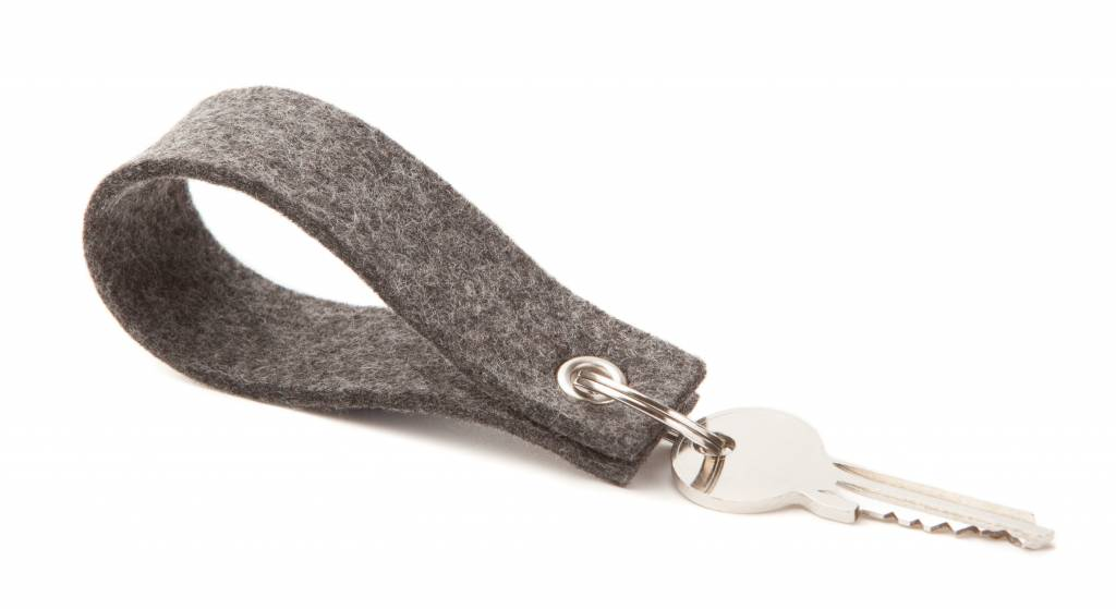 Schlüsselanhänger Grau eckig-1