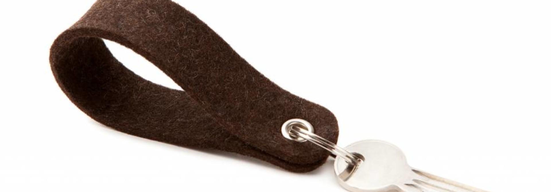 Schlüsselanhänger Trüffelbraun rund