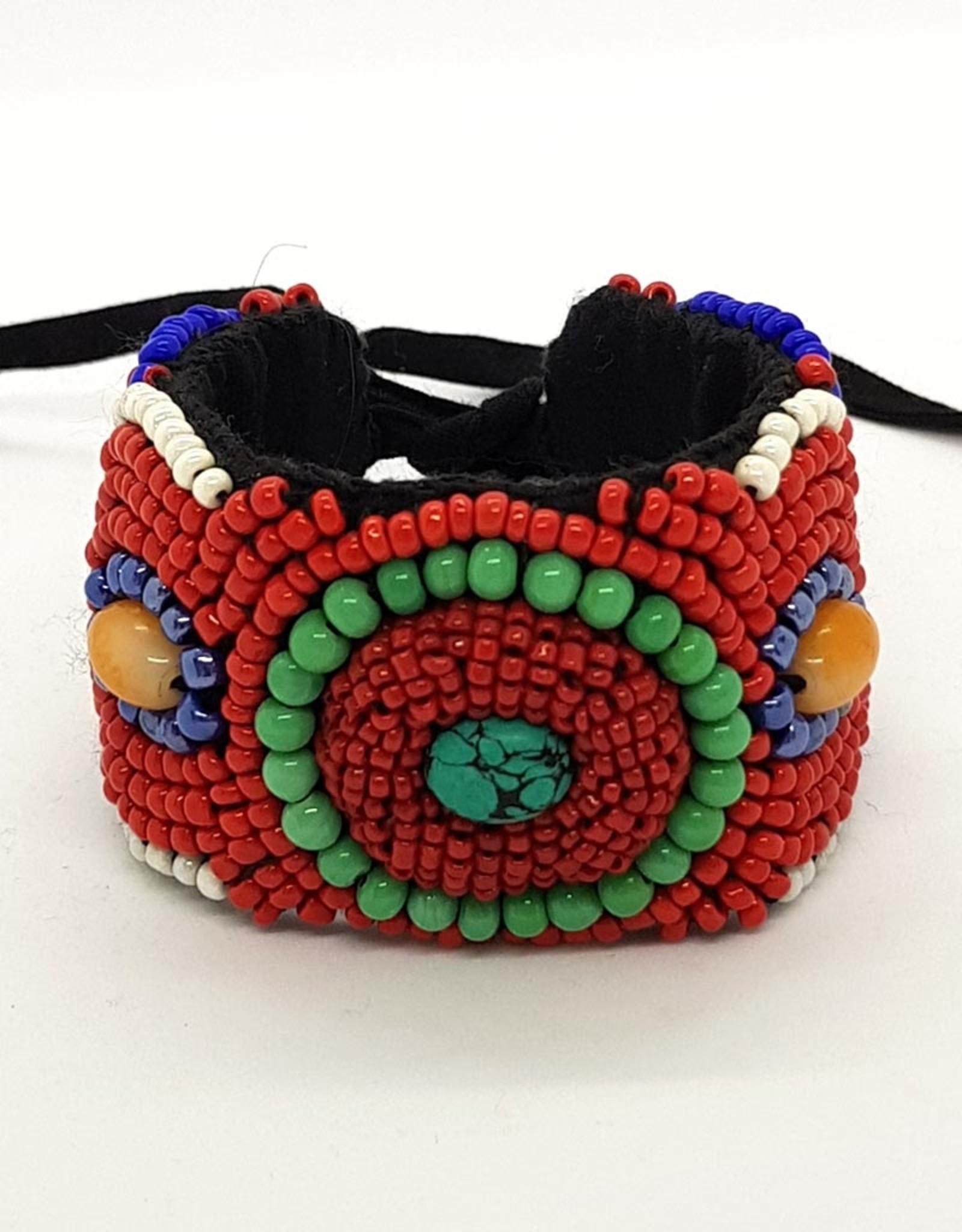 Breites buntes Armband, rot/grün