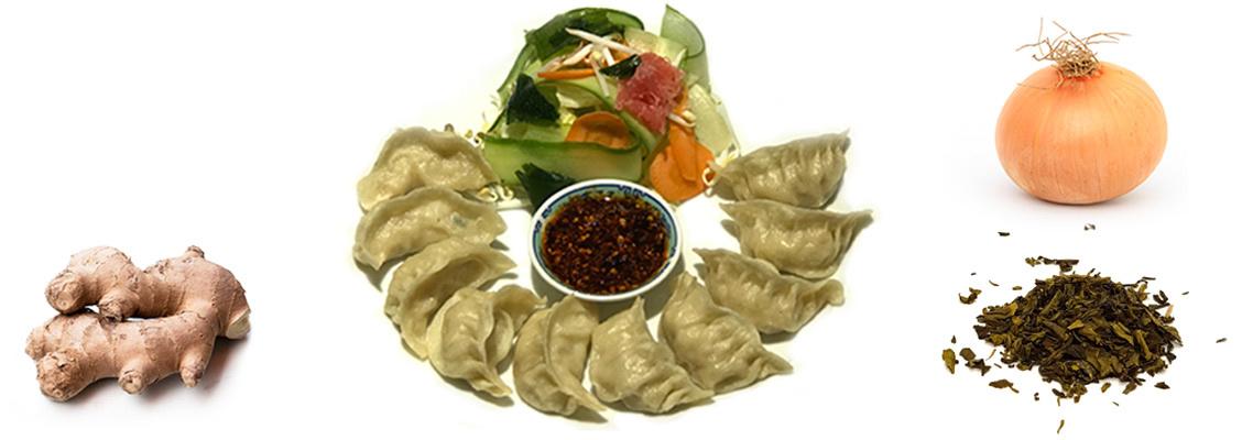 Tibetische Momos Shabhaley und Sushi
