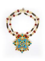 Tibetischer Schmuck Halskette Gau mit Dzis, Korallen und Perlen