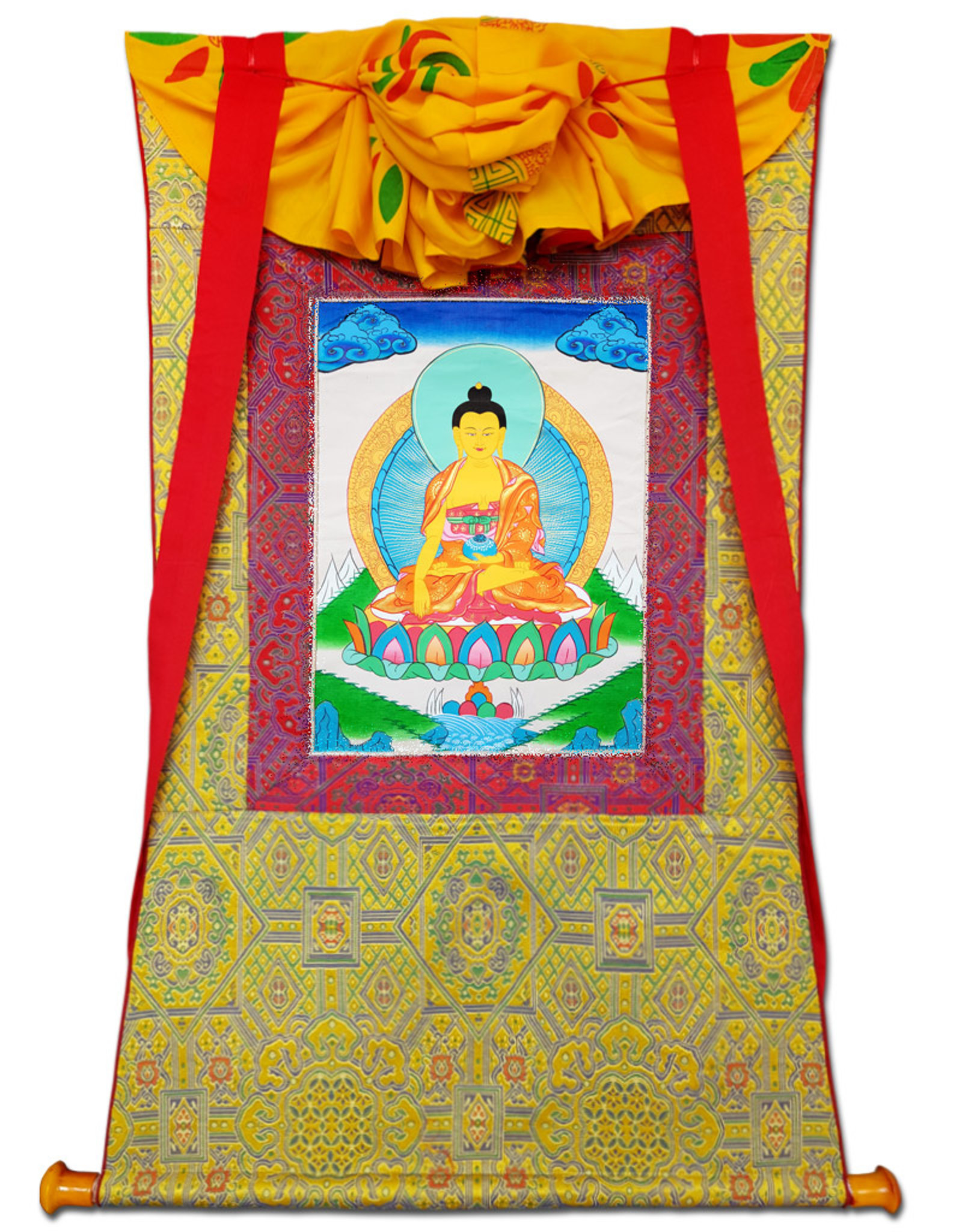 Tibetisches Thangka Buddha 95 x 53 cm