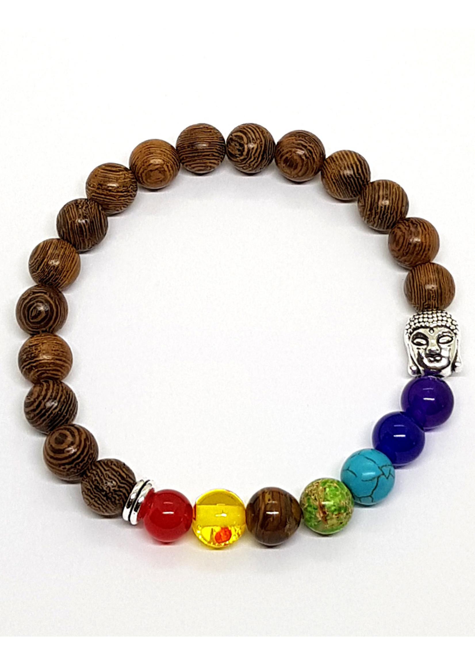 Holz-Armband mit 7 Chakras und Buddha, braun