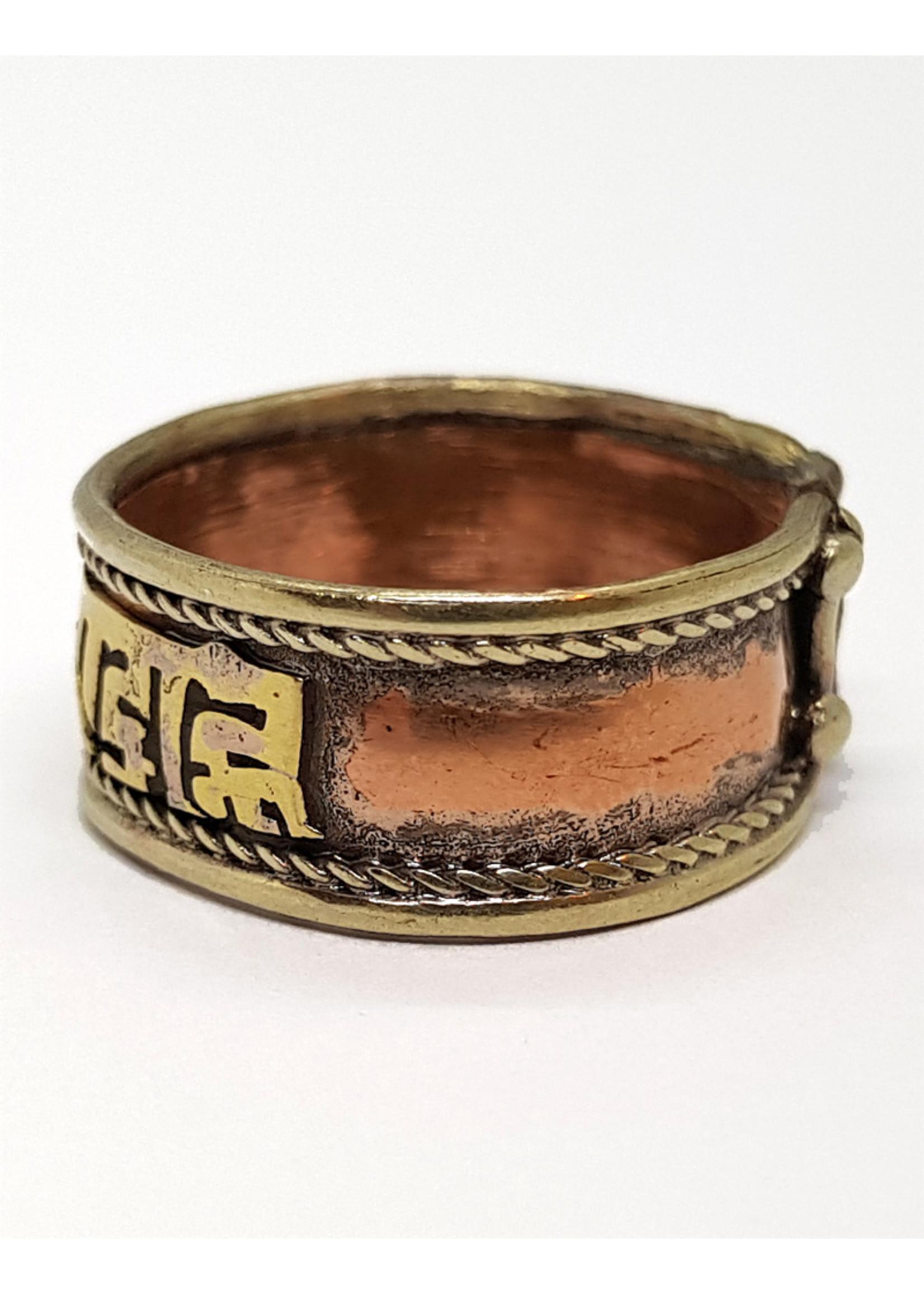 Verstellbarer Mantra Ring aus Messing