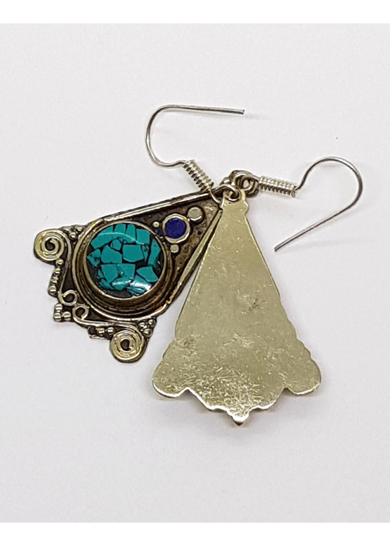 Ohrhänger Dreieck aus Kupfer mit Stein