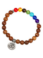 Holz-Armband mit 7 Chakras OM, braun