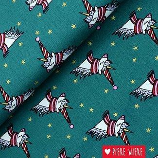 Rico design Cotton Winter Unicorn Green