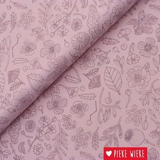 Rico design Cotton flowers pink metallic
