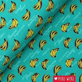 Katoen bananen turquoise