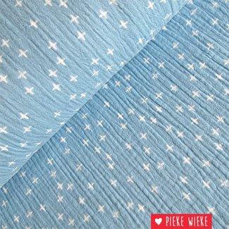 Hydrofiel Hemelsblauw met kruisjes