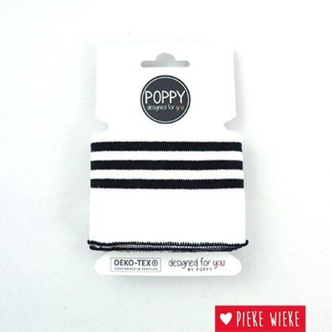 Poppy Cuff Mouwboord Wit - 3 Zwarte Lijnen