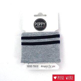 Poppy Cuff Mouwboord Grijs - Gestreept - Donkerblauw