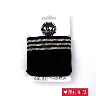 Poppy Cuff Mouwboord Zwart- Lurex Goud