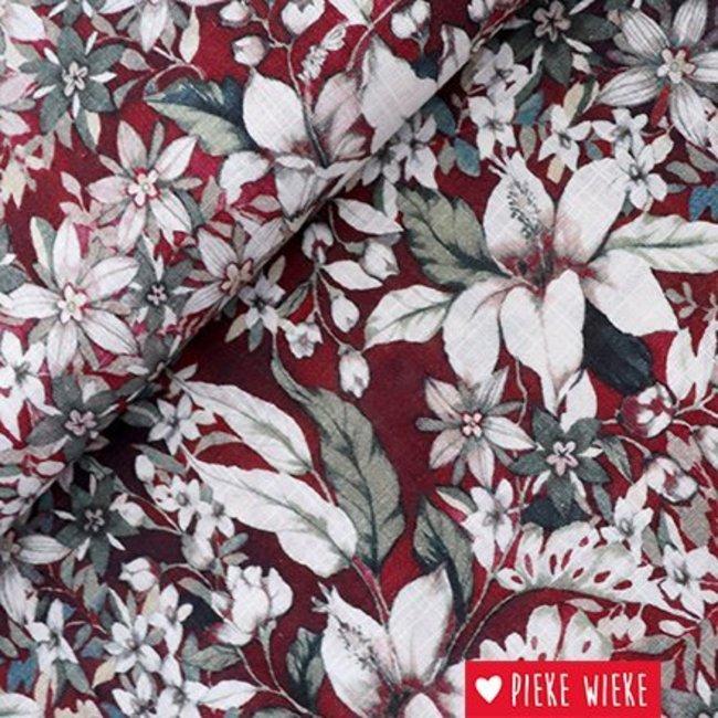 Cotton viscose flowers bordeaux