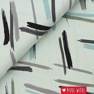 Viscose tricot Retro stripes blauw